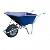 Tuin Kruiwagen 100L Kunststof Blauw (anti-lek wiel (grijs), doos verpakking)