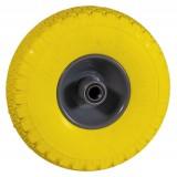 Wiel 300x4 softwiel geel, metaal kogellager 20 mm