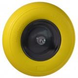 Wiel 400x8 geel softwiel metaal kogellagers (13 cm aslengte)